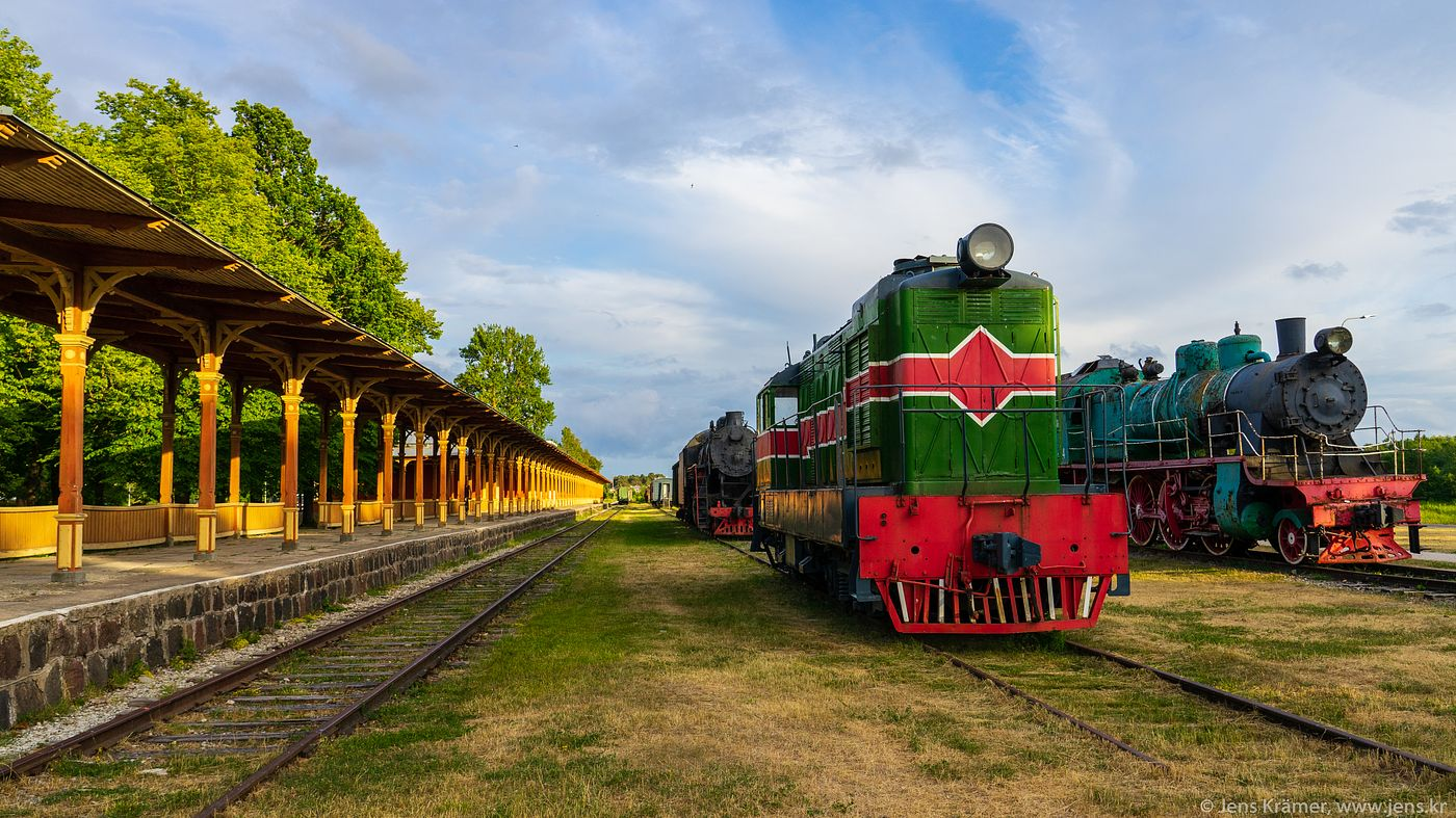 Old Steam and Diesel Engines at Haapsalu Railway Station